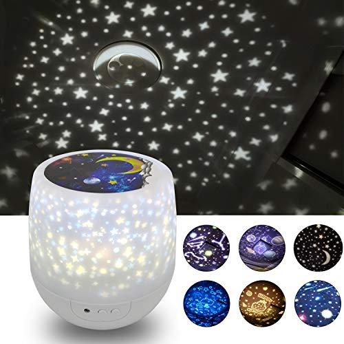 Kids Star Night Light Projector- 360 Roterende Dimbare Nachtlampje Kleurrijke Romantische Sterrenhemel Projectie Lamp