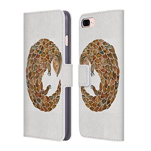 Head Case Designs Oficial Cat Coquillette Pangolín Animales 2 Carcasa de Cuero Tipo Libro Compatible con Apple iPhone 7 Plus/iPhone 8 Plus