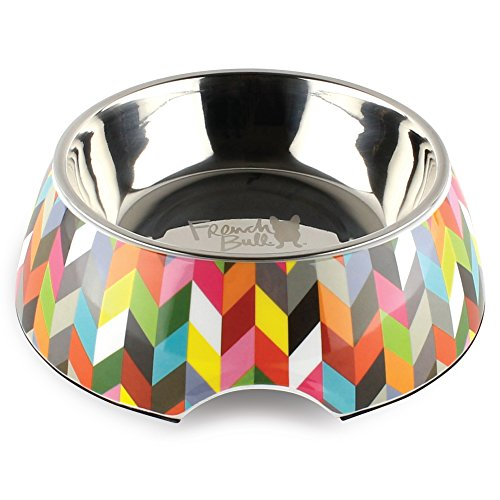 French Bull 24 oz. Pet Bowl, 2 Piece - Dog, Cat, Feeder, Nonslip, Stainless Steel, Raised - Ziggy