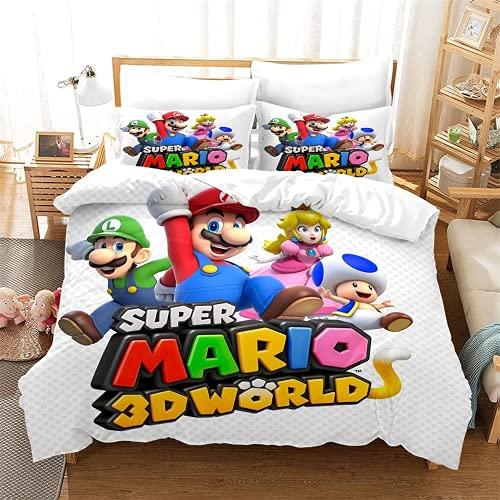 AGYGCW Sábana encimera 140 x 210 cm, impresión digital 3D, Super Mario Bros. Funda nórdica de microfibra, con 2 fundas de almohada 80 x 80 cm (Mario V3,135 x 200 cm + 50 x 75 cm x2)