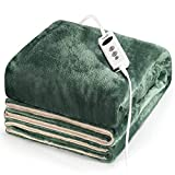 Electric Heated Blanket, Turejo Heating Throw 50' x 60', 10 Heating Levels, 9 Timer Settings, Auto Off, Reversible Flannel and Sherpa Layers, Overheating Protect for Home Office