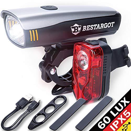 Bestargot LED Fahrradlicht Set, LED Fahrradbeleuchtung StVZO Zugelassen, USB Wiederaufladbare Frontlicht und Rücklicht Set, Fahrradlampe, 60/30 Lux, 2600mAh Samsung Li-ion,IPX5 Wasserdicht