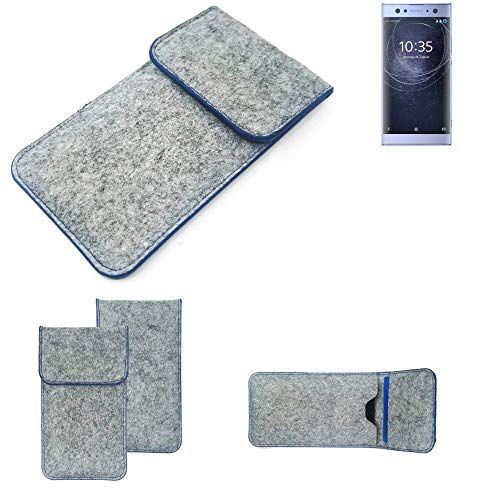 K-S-Trade Filz Schutz Hülle Für Sony Xperia XA2 Ultra Dual-SIM Schutzhülle Filztasche Pouch Tasche Hülle Sleeve Handyhülle Filzhülle Hellgrau, Blauer Rand