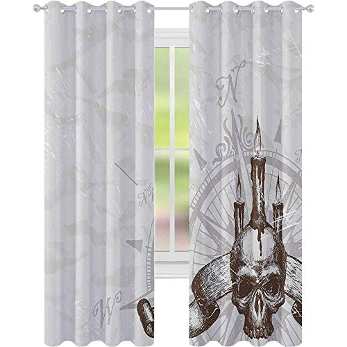 Room Darkening Window Curtains, Compass with Skull and Candles Spooky Adventure New Pirate Destinations Theme, W52 x L63 Blackout Curtain Panels for Kids Bedroom, Brown and Pearl Grey