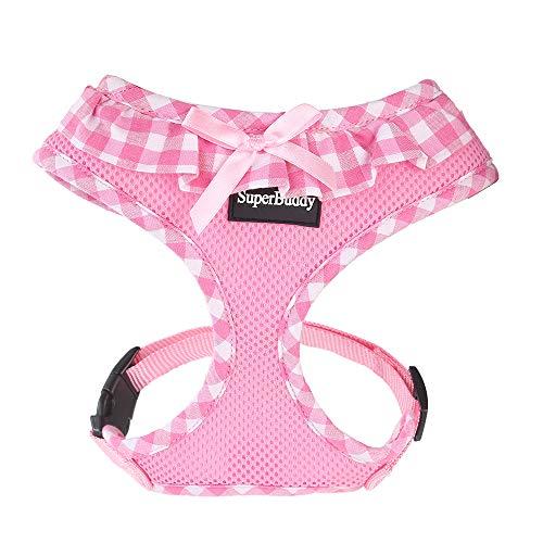 SuperBuddy Upgraded No Pull & No Choke Dog Harness, Super Soft Mesh Breathable Pet Vest Harnesses, Lightweight Adjustable Vest Harness for Puppies and Cats-Comfort fit…