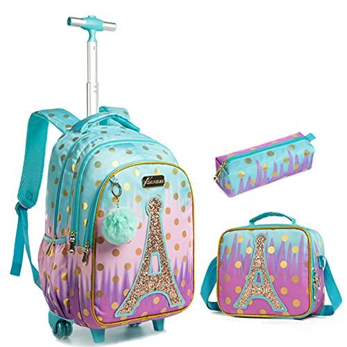 Mochilas con ruedas para niñas, juego de mochila para niños con bolsa de almuerzo, estuche para lápices, mochila con ruedas para niños relajados a la escuela, viajes