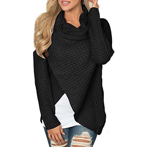 VECDY Damen Blouse,Räumungsverkauf- Frauen Langarm Solid Sweatshirt Pullover Tops Bluse Shirt Lässiger Uni Pullover mit vielseitiger Farbe Sweatshirt (42, Y-Schwarz)