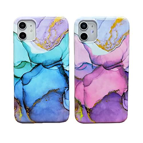 KARELIFE 2 cover in silicone per iPhone SE 2020, con glitter e strass, flessibile, in TPU sottile, sottile, lucida, colore: menta, viola