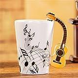 Tiamu Tazas de Porcelana, Taza de café y té, mango de guitarra taza de café leche taza de té personalidad taza único instrumento musical taza de regalo taza