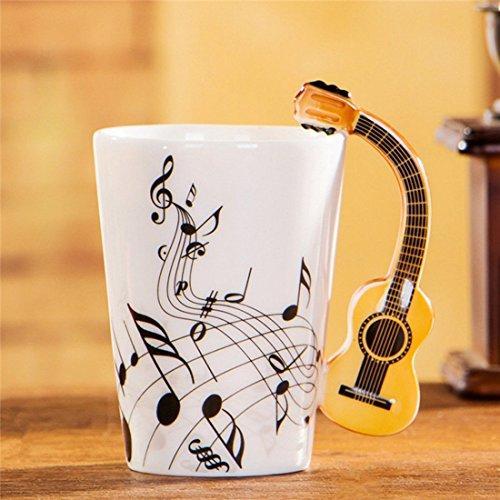 Tiamu Porzellan Teetasse, Teetasse Kaffeetassen reative Neuheit Gitarre Griff Keramik Tasse frei Kaffee Milch Tee Tasse Persoenlichkeit Becher einzigartige Musikinstrument Geschenk