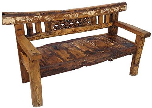 Guru-Shop Rustikale Gartenbank - Modell 3, Braun, 90x180x70 cm, Sitzmöbel