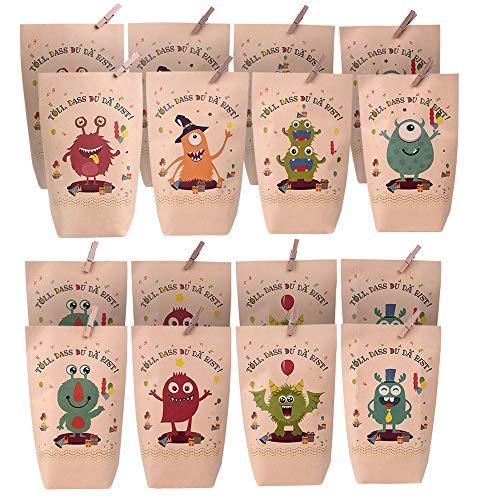 JOYGOGO 16 Papier Monster Geschenktüten, Bunt Geschenktüten mit 8 verschiedenen süßen Monstermotiven für Mitgebsel, Geschenke, Kindergeburtstage und Hochzeit Geschenk Papiertasche, Deko Taschen