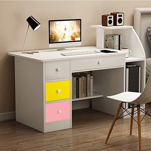 Computer Desk with 4 Drawers Modern Writing Desk Pc Laptop Table Sturdy Office Desk Workstation with Bookshelf Host Storage WhitePink/Yellow