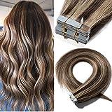 16'(40cm) Extensiones Adhesivas de Cabello Natural Sin Clip [2.5g*20pcs] #4/27 Marrón Medio/Rubio Oscuro 100% Remy Pelo Humano Tape in Hair Extensions (50g)