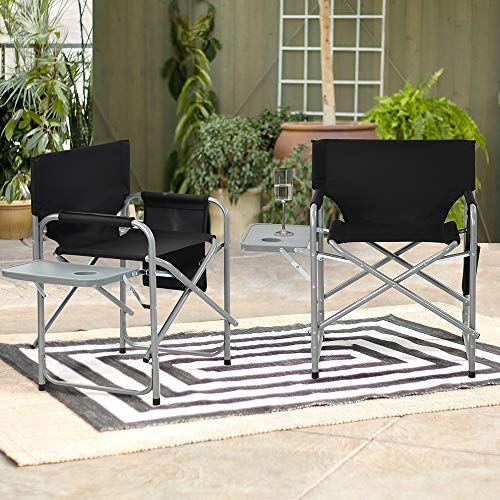 2 Outdoor Camping Folding Chairs, Super Large Folding Director Chair, Equipped With 24 Inches Wide, 280 Pounds With Side Table Support Frame,Suitable for Outdoor Camping, Fishing, Studio