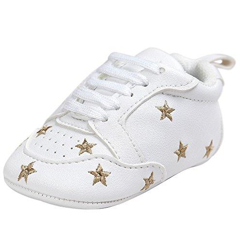 Fossen Recién nacido Bebe Zapatos Cuero artificial Zapatillas con Bordado Pentagram Suela Blanda Antideslizante Primeros pasos Para Bebé Niñas Niño (0-6 meses, Dorado)