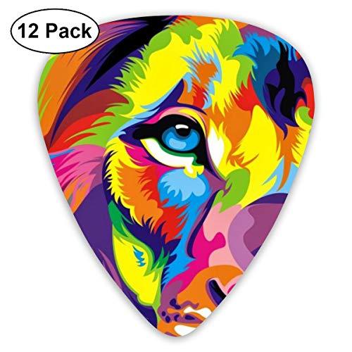 351 Shape Guitar Picks Lion Face Rasta Colors Style Art Guitar Plectrums for Acoustic Guitar, Banjo Or Ukulele, Guitarist, 12 Pack, 0.46mm/0.71mm/0.96mm