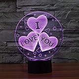 3D Lámpara óptico Illusions Luz Nocturna, EASEHOME LED Lámpara de Mesa Luces de Noche para Niños Decoración Tabla Lámpara de Escritorio 7 Colores Cambio de Botón Táctil y Cable USB, Amor