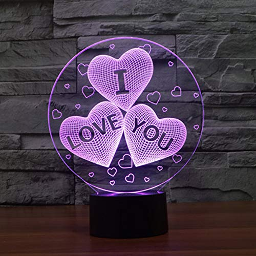 3D LED Illusion Lamp Night Light, EASEHOME Optical Bedside Table Night Lights Illuminating Kids Lamp 7 Colour Changing Touch Button 1.5M USB Cable Decoration Desk Lamps, Love