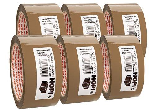 Packband Nopi® Pack 66 m x 50 mm, braun Set zu 6 Stück