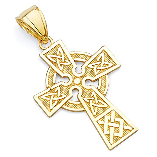 14k REAL Yellow Gold Religious Celtic Cross Charm Pendant