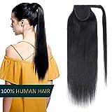 Coletas Postizas 35cm Extensiones de Cabello Natural a Clip Postizo Coleta Pelo Humano [ Wrap Around ] - 14'(35CM) #01 Negro Oscuro 100% Remy Hair