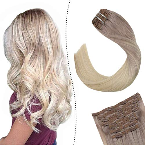 Ugeat Full Head Clip in Extensions Aschblond zu Platinblond #T18/60 Ombre Secret Tressen mit Clips 18zoll Easy Fit fur Komplette Haarverlangerung 100Gramm 7Stuck