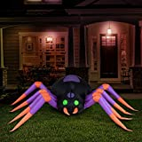 Holidayana 8 ft Long Creepy Crawly Spider Halloween Inflatable, Spooky Weather Resistant Inflatable Decoration with LED Lights, Built-in Fan, and Tie-Downs