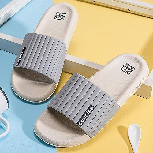 HUSHUI Bañarse Sandalias Zapatillas para Mujer,Zapatillas Planas de baño, Sandalias de Pareja de Interior-Gris_44-45,Zapatos de Playa y Piscina para