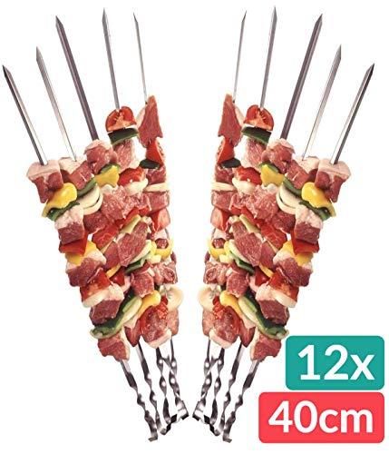 Praknu 12 Grillspieße Schaschlikspieße Edelstahl 40cm | Fleischspieße für BBQ & Grill | Kebab Spieße | Schampura für Mangal