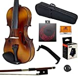 Paititi 1/4 Size Solid Wood Student Violin Complete Package w Case Bow Rosin String Mute Tuner Complete Package