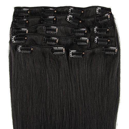 Beauty7 120g Extensions de cheveux humains à clip 100% Remy Hair 1# Couleur Noir Longueur 66 cm