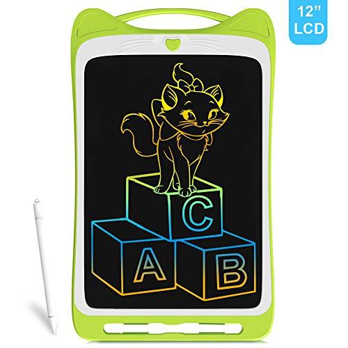 Richgv® Tableta de Escritura LCD,Tablero Negro Inteligente Juguetes de Aprendizaje Tablero de Dibujo Electrónico Escritura a Mano y Doodle Pad para Niños y Adultos (12 Pulgadas, Verde)