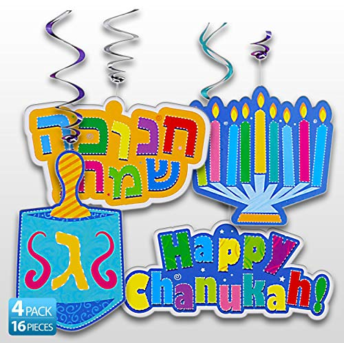 Izzy 'n' Dizzy Chanukah Swirl Decorations - 32 Pieces - Giant Hanging Menorahs, Dreidels, Happy Chanuka and Chanukah Sameach Signs - Hanukkah Party Decorations and Supplies
