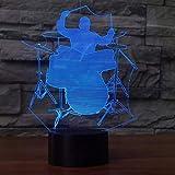 YRANPEA 3D Couleur Interchangeable LED Jazz Batteur Homme Forme Veilleuse Décor À La Maison Instruments De Musique Instruments...