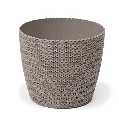 Lamela Eco Blumentopf Kräuterpflanze Blumentopf - Magnolie Jersey - Fensterbankhalter Balkon Garten Container Eimer - Heimdeko - Mix! Match! Play!, 40% Holz, 60% Abfall aus Recycling, grau, Ø 110 mm