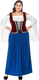 XFentech Vestido de Dirndl para Mujeres gordas, Traje de Oktoberfest, Vestidos de Lujo Bávaros, Ropa de la Cerveza de la Camarera,Falda de Dirndl