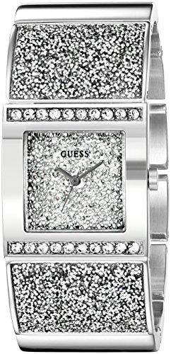 GUESS U0650L1 Reloj brillante en tono plateado con pulsera autoajustable