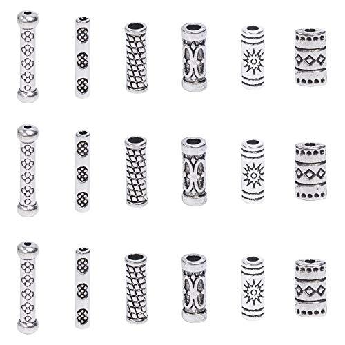 NBEADS 1 Box 120 Stück Vintage Alloy Tube Spacer Beads, Tibetischen Stil Metallsäule Lose Perlen DIY Crafting Connector Zubehör Für Armband Halskette Schmuckherstellung, Antik Silber Farbe