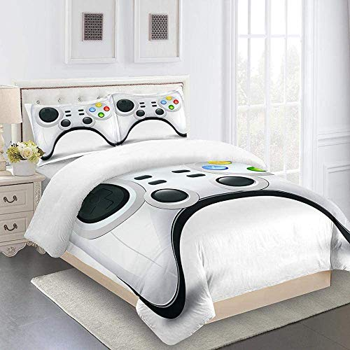 Douluo Decor 4 Pieces Bedspread Set Gamepad 135 * 200Cm 3D Printed Duvet Cover Set Bedding Set,Soft Microfiber,2 Pillowcases,Hidden Zipper Boy Girl Bedroom Decoration