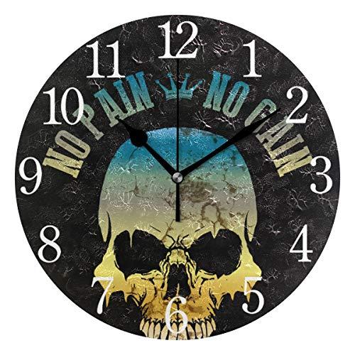 Mnsruu Reloj de pared redondo con diseño de calavera de color degradado, pintura al óleo silenciosa sin garrapatas para dormitorio, sala de estar, oficina, escuela, decoración del hogar