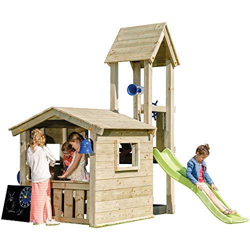 MASGAMES | Box per bambini Torre Lookout M | Casetta con Torre Allegata e Scivolo a 90 cm di altezza | Ancoraggi inclusi | Uso domestico |