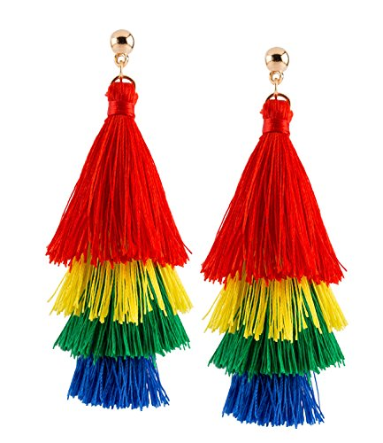 SIX Ohrringe: Pride - Regenbogen Ohrhänger, Tassel Ohrstecker für Karneval und Faschingskostüme (761-795)