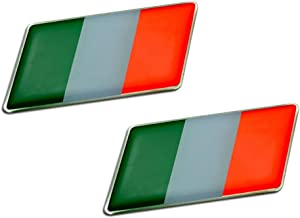 2 x (Pair/Set of 2) ITALIAN ITALY FLAG Emblem Badge Nameplate Decal Rare for Alfa Romeo 4C Giulietta Quadrifoglio Verde Mito 159 Sportwagon 8C Spider 147 159 Brera Crosswagon Q4 33 145 146 155 156 166 6 6C 1900 2000 2600 GT GTV Sprint Alfetta Alfasud Montreal Giulia