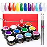 Gel Constructor de 12 Colores Kit para Uñas, Saviland Gel de Extensión de Esmaltes Semipermanentes Uñas UV Set Acrilicas Manicura con Formas de Uñas y Cepillo de 3 Piezas