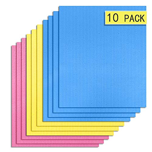 10 Pack Dish Cloths for Kitchen Eco-Friendly Swedish Dishcloth Cellulose Sponge Towel Assorted01