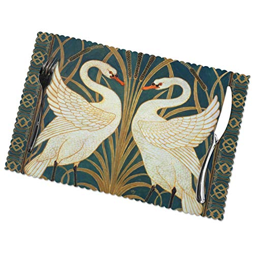 Perfect household goods Walter Crane Swan, Rush and Iris Art Nouveau Trivet Placemats Set of 6 for Dining Table Washable Woven Vinyl Placemat Non-Slip Heat Resistant Kitchen Table Mats