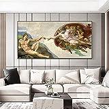 Famoso Fresco de Miguel Ángel creación de Adam arte lienzo impreso pintura cuadro de pared sala de estar decoración del hogar póster 50x100 CM (sin marco)