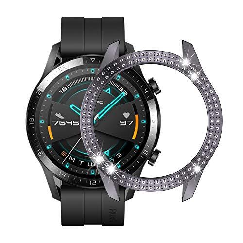 LISUHONG Ntd AYDD para Huawei GT2 46mm PC Funda de Reloj de Diamante Doble Fila (Color : Gray)