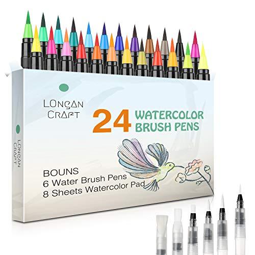 Longan Craft Pinselstifte Set, 24 Aquarell Pinselstifte + 6 Wassertankpinsel, Brush Pen mit flexiblen Nylonspitzen Handlettering Stifte für Künstler, Journal, Kalligraphie und Zeichnungen